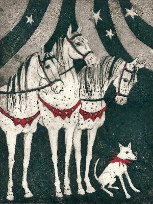 Print by Rosie Sheldrake of circus horses
